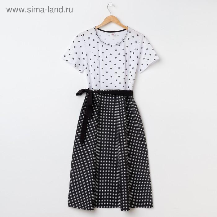 Платье женское Р708168 чёрный/белый, рост 158-164 см, р-р 50