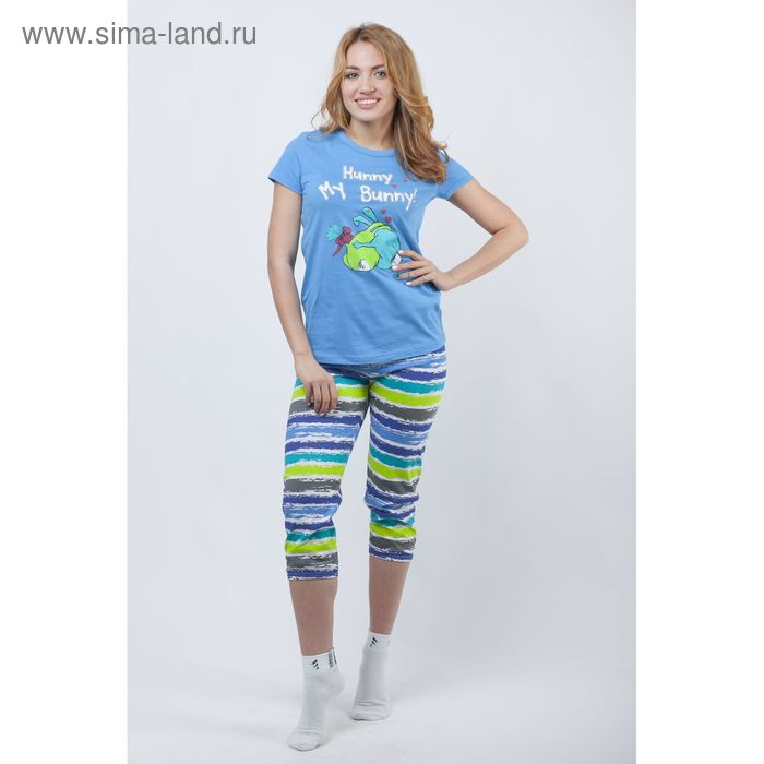 Комплект женский (футболка, капри) Р207216 голубой, рост 170-176 см, р-р 48