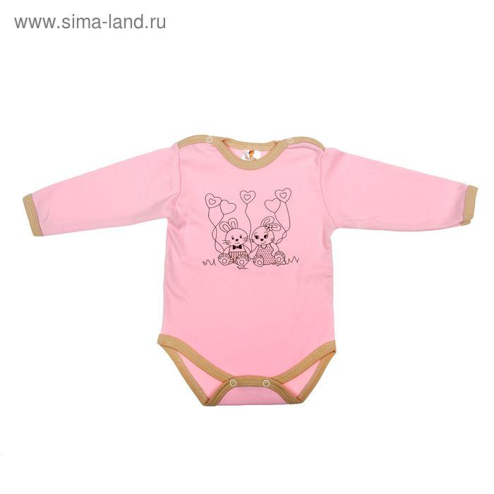 """Боди для девочки """"Зайка"""", рост 68 см (44), цвет розовый 3989"""