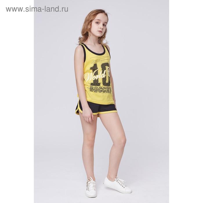 Комплект для девочки (топ+шорты), рост 146 см (38), цвет жёлтый/чёрный Р607759_Д