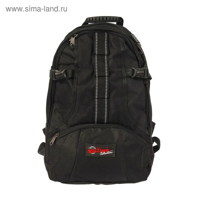 Рюкзак молодёжный на молнии, 2 отдела, наружный карман, чёрный