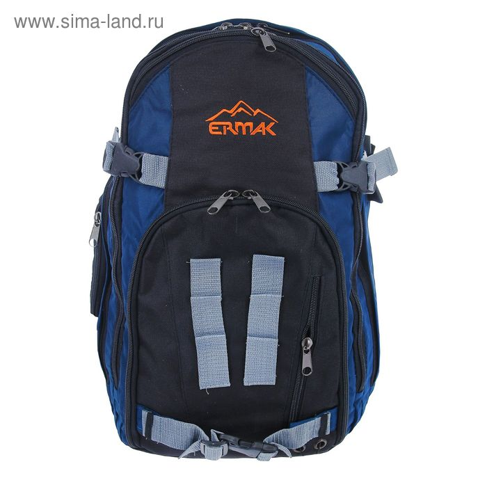 Рюкзак молодёжный на молнии, 2 отдела, 3 наружных кармана, чёрный/синий, МИКС