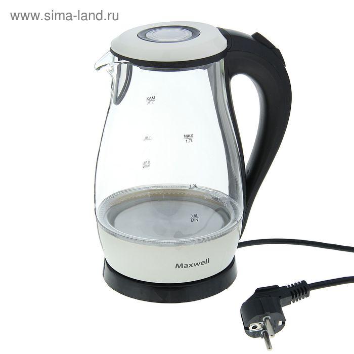 Чайник электрический Maxwell MW-1070, 1.7 л, 2200 Вт, подсветка, стекло