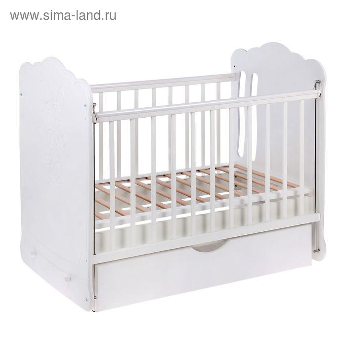 Детская кроватка «Котёнок с клубочком», с ящиком, цвет белый