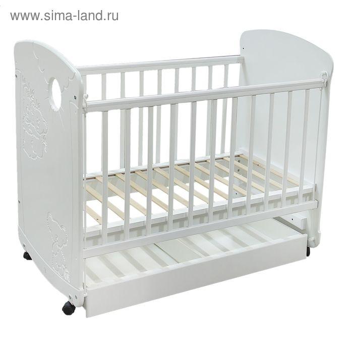 Детская кроватка «Коала» на колёсах, с ящиком, цвет белый