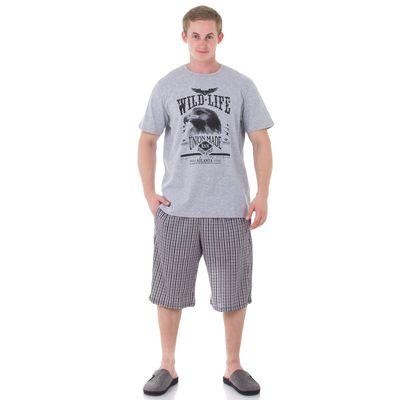 Комплект мужской (футболка, шорты), размер 46, цвет серый (арт. 886/1)