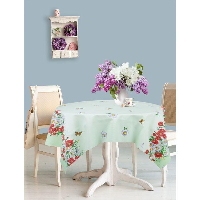 """Скатерть """"Доляна"""" Полевые цветы 150*200 см, 100% хлопок, рогожка, 162 г/м2"""