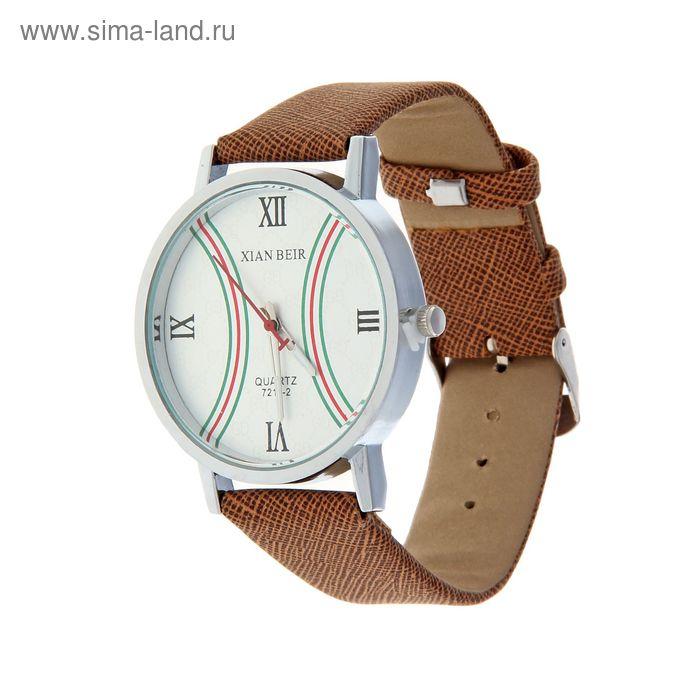 Часы наручные женские XianBer, полоса, ремешок коричневый