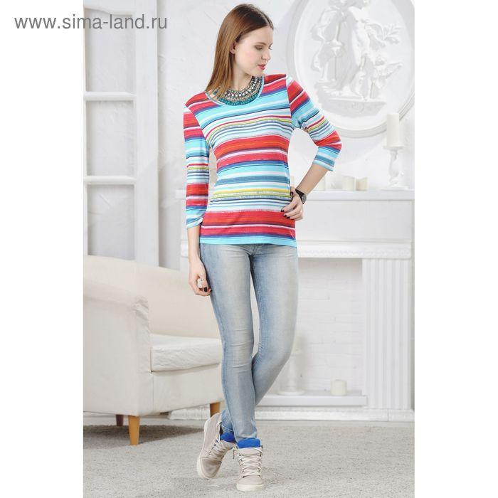 Блузка женская, размер 52, рост 164 см, цвет голубой/красный/тёмно-синий (арт. 4538 С+)