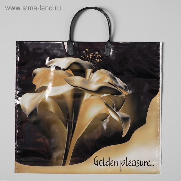 """Пакет """"Золотой цветок"""", полиэтиленовый с пластиковой ручкой, 38х35 см, 110 мкм"""