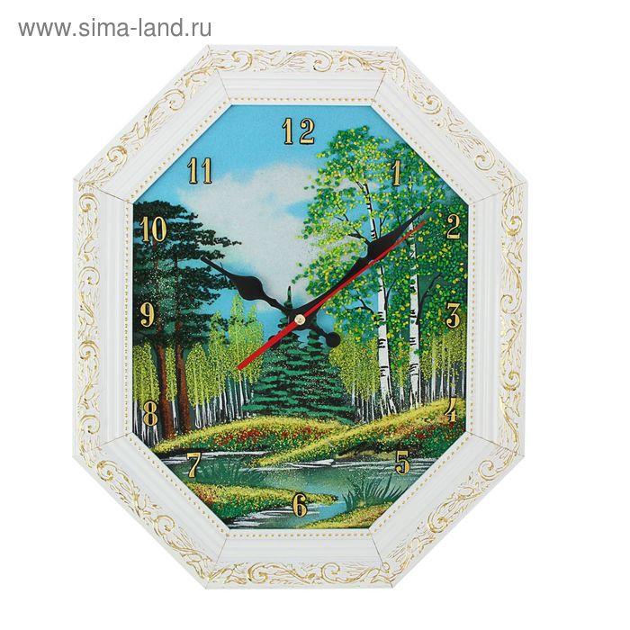 "Часы Багет (белый) овал №2  25/31см ""Лето"", каменная крошка"