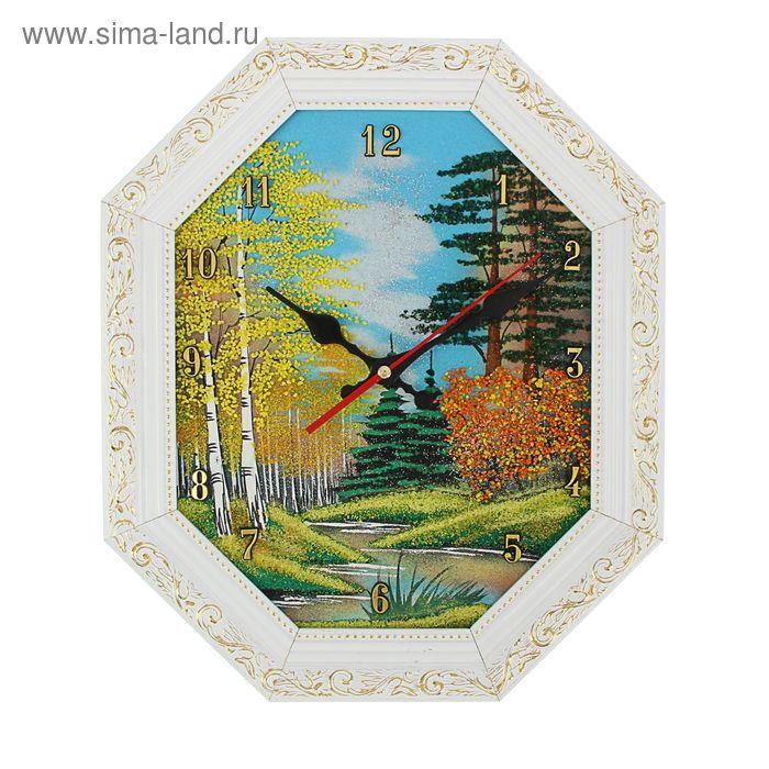 """Часы Багет (белый) овал №2  25/31см """"Осень"""", каменная крошка"""