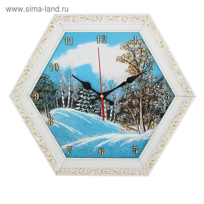 "Часы Багет (белый) шестигранные №3 D=37 см ""Зима"", каменная крошка"