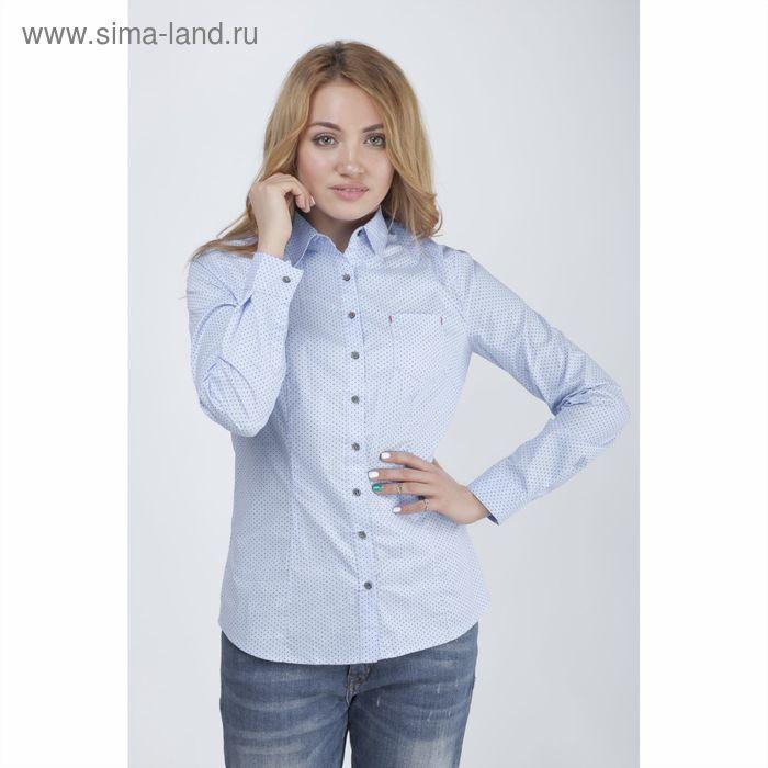 Блузка с длинным рукавом, принт горох, размер 50, рост 170 см, цвет голубой (арт. 15113 С+)