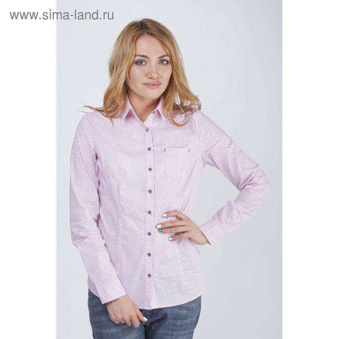 Блузка с длинным рукавом, принт горох, размер 50, рост 170 см, цвет розовый (арт. 15113 С+)