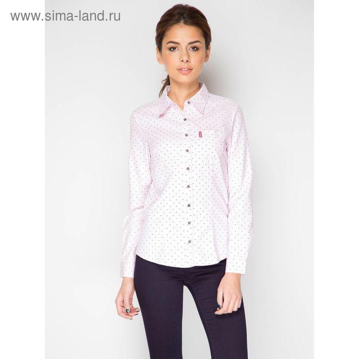 Блузка с длинным рукавом, размер 50, рост 170 см, цвет розовый (арт. 15137 С+)