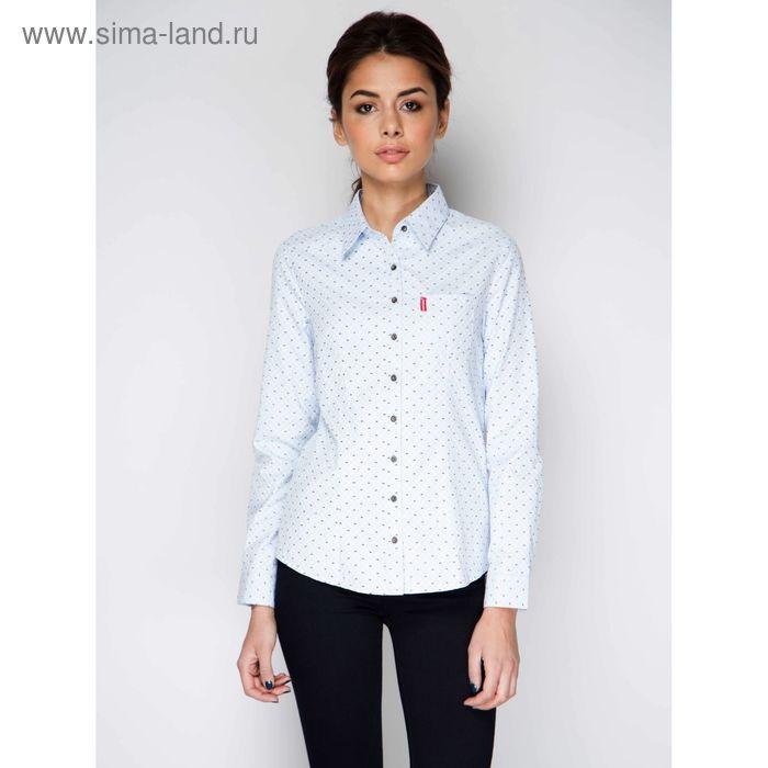 Блузка длинный рукав 15137, размер 42, рост 170 см, цвет голубой
