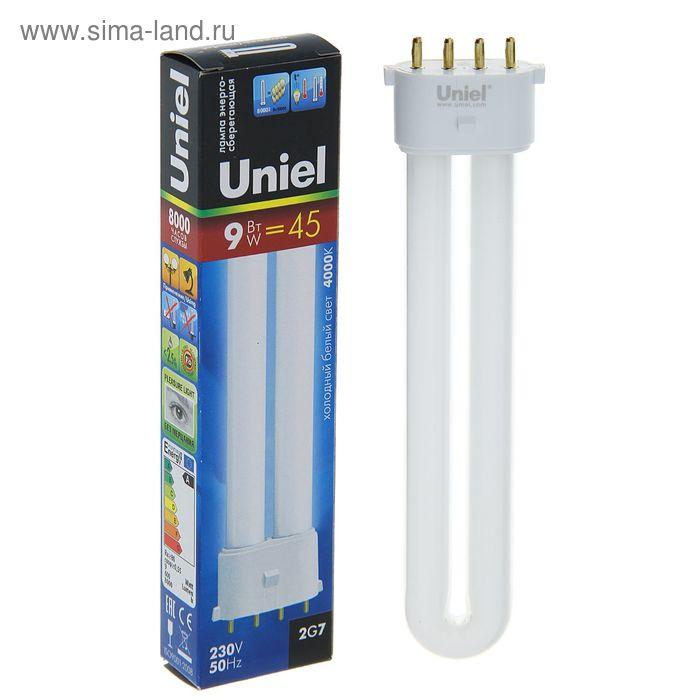 Лампа энергосберегающая Uniel 2G7, 9 Вт, 4000 К, свет холодный белый