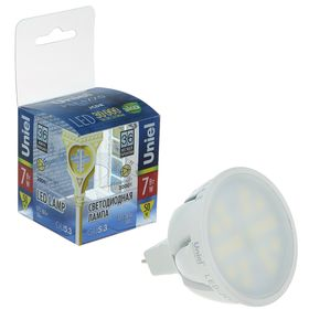 Лампа светодиодная Uniel, GU5.3, 7Вт, 3000 К, алюминиевый корпус, матовая, свет тёплый белый