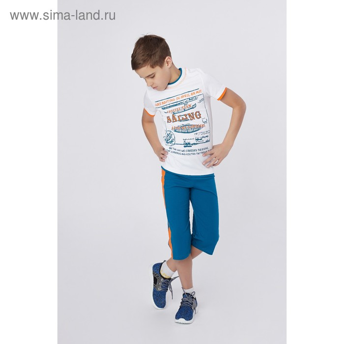 Комплект для мальчика (футболка+шорты), рост 152 см (12 лет), цвет тёмно-бирюзовый/белый (арт. Н464)