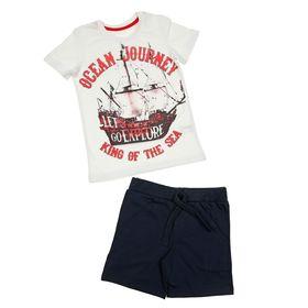 Комплект для мальчика (футболка+шорты), рост 98 см (3 года), цвет тёмно-синий/белый (арт. Н018)