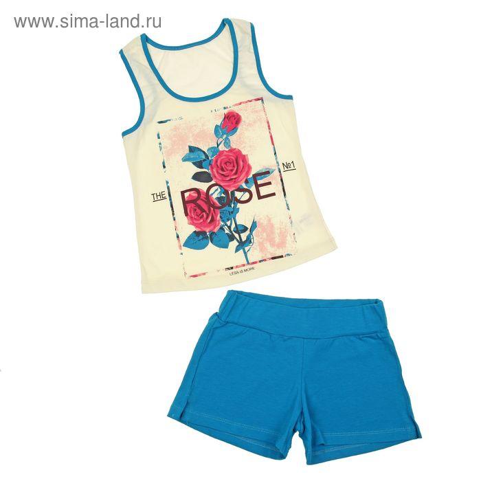 Комплект для девочки (блузка+шорты), рост 140 см (10 лет), цвет бирюзовый/экрю (арт. Л216)