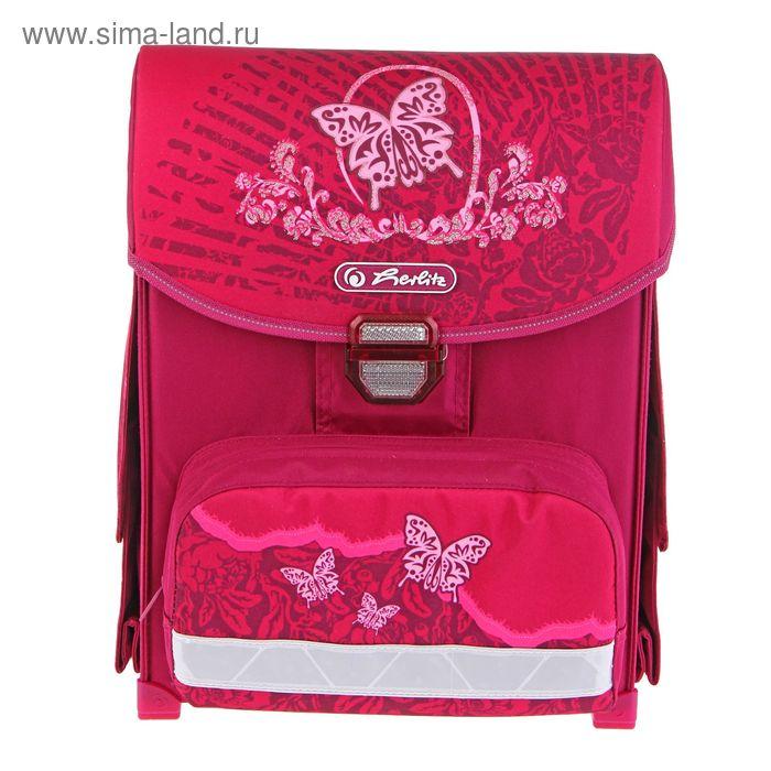 Ранец на замке Herlitz SMART 38*30*21 эргономичная спинка, для девочки, Rose butterfly, 2 отеления