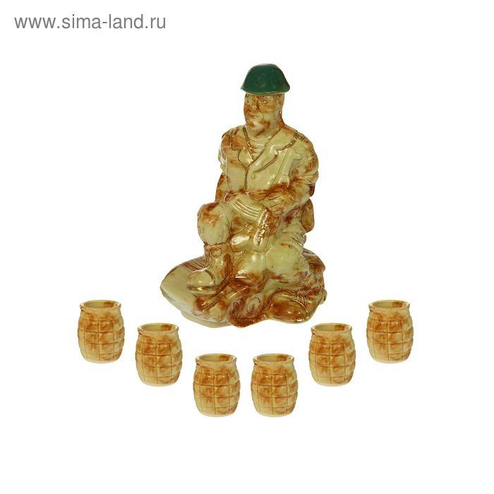 """Штоф с рюмками """"Солдат на танке"""" 7 предметов, 0,5 л"""