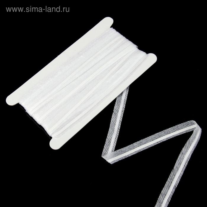 Тесьма усиленная клеевая с прошивкой, ширина 10мм, 10м, цвет белый