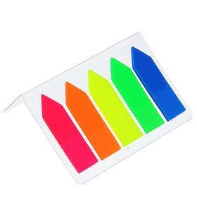 Блок-закладка с липким краем пластик 'Стрелки' 15 л, 5 цв, флуорисцентный, в блистере, МИКС Ош