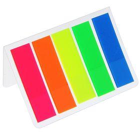 Блок-закладка с липким краем, пластиковая, флуоресцентная, 15 листов, 5 цветов, в блистере МИКС Ош