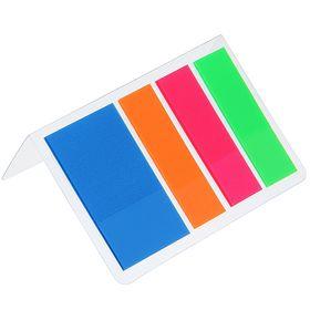 Блок-закладки с липким краем пластик 25 мм*44 мм, 20 л, 4 цв, в блистере, МИКС Ош
