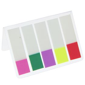 Блок-закладки с липким краем пластик 25 мм*44 мм, 20 л, 5 цв, в блистере, МИКС Ош