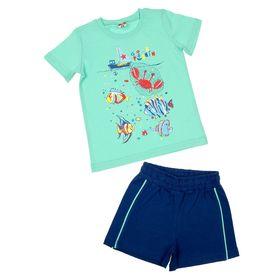 Комплект для мальчика (футболка, шорты), рост 92 см (52), цвет изумруд/тёмно-синий (арт. CSK 9566)