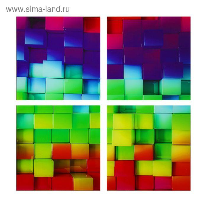 """Модульная картина на стекле """"Цветные кубики"""""""