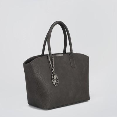 Сумка женская на молнии, 2 отдела, 1 наружный карман, коричневая