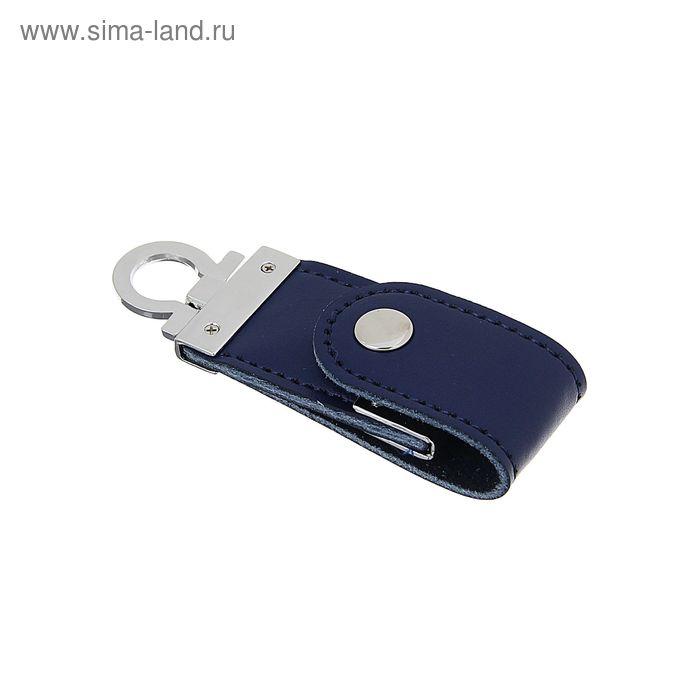 USB-флешка 8Gb, экокожа, под УФ-печать/лазерную гравировку/тампопечать, синяя