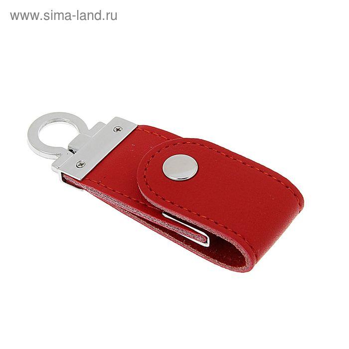 USB-флешка 8Gb, экокожа, под УФ-печать/лазерную гравировку/тампопечать, красная