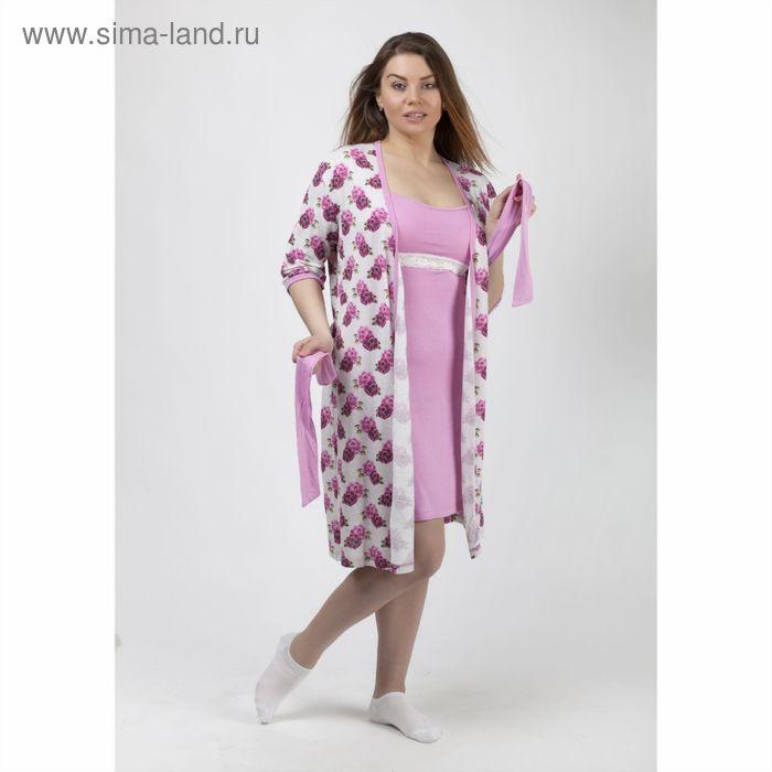 Комплект женский (халат, сорочка) Кмпл.018в вискоза цвет розовый, р-р 50