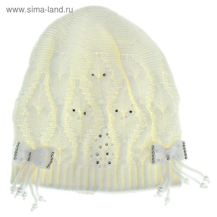 """Шапка-колпачок для девочки """"Бусина"""" (3-5 лет), цвет белый МИКС 0560"""