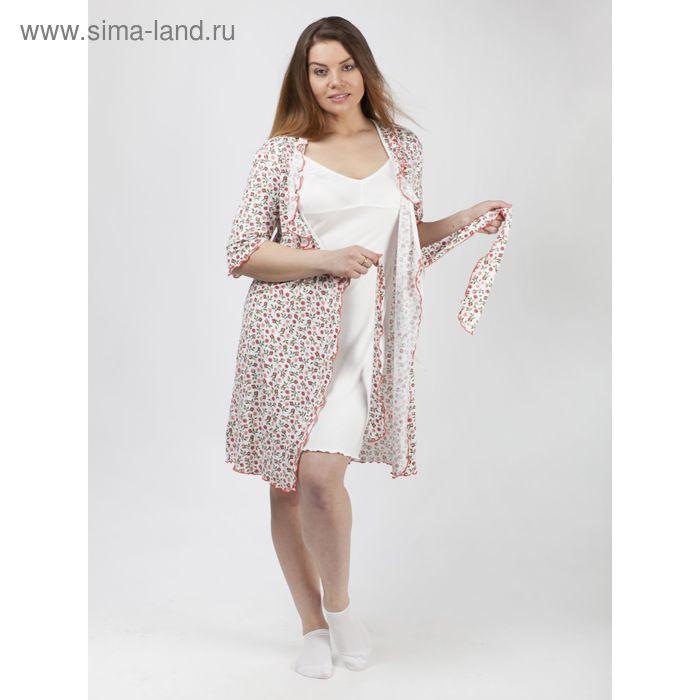 Комплект женский (халат, сорочка) Кмпл.035в вискоза цвет белый, р-р 50