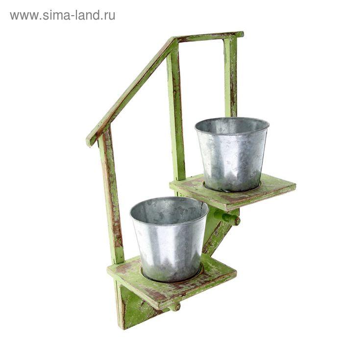 """Кашпо настенное двойное """"Лесенка"""" зелёное"""
