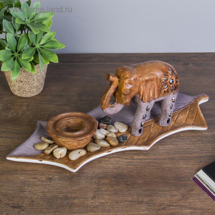 """Набор подсвечник 1 свеча и слон на подставке """"Узорный лист"""""""