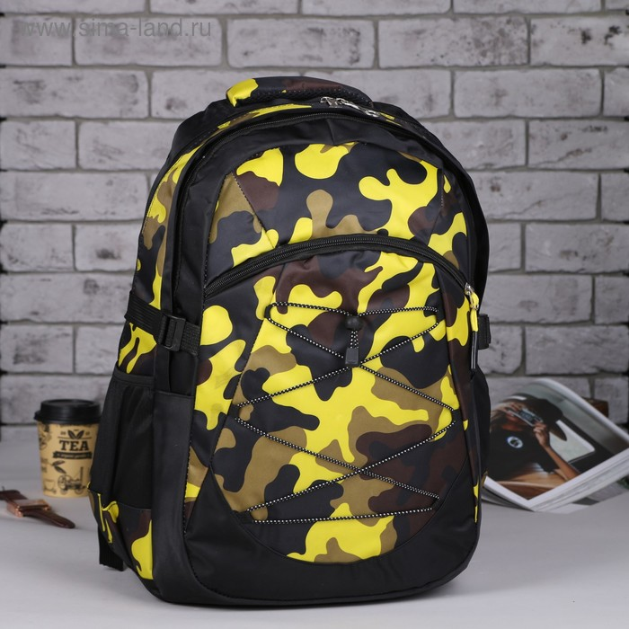 """Рюкзак молодёжный на шнурке """"Милитари"""", 1 отдел, 1 наружный карман, усиленная спинка, оранжевый"""
