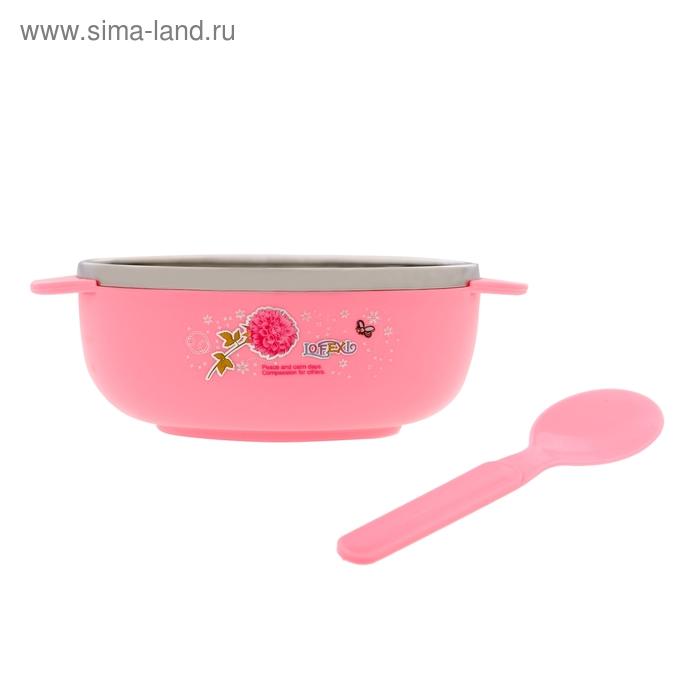 Набор детской посуды тарелка - термос с ручками, ложка, цвет розовый