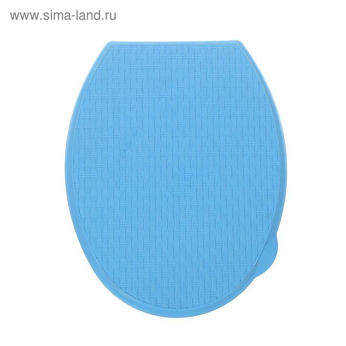 """Сиденье для унитаза жесткое """"Ротанг"""", цвет голубой"""