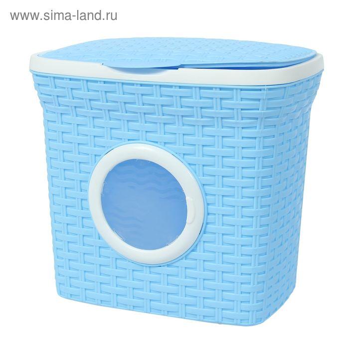 """Контейнер для стирального порошка с иллюминатором 10 л """"Ротанг"""", цвет голубой"""