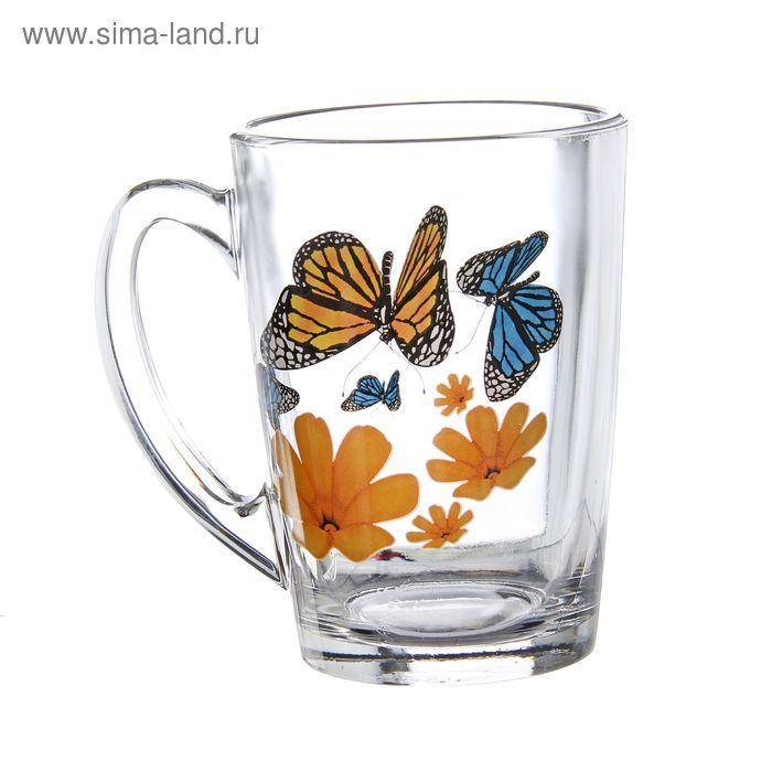 """Кружка 300 мл """"Бабочки и оранжевые цветы"""""""