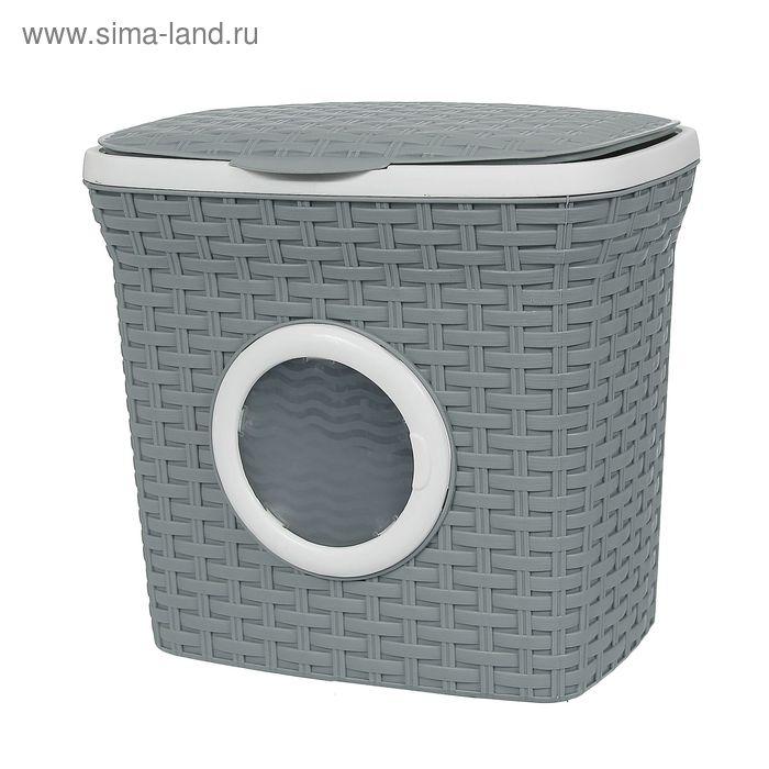 """Контейнер для стирального порошка с иллюминатором 10 л """"Ротанг"""", цвет серый"""