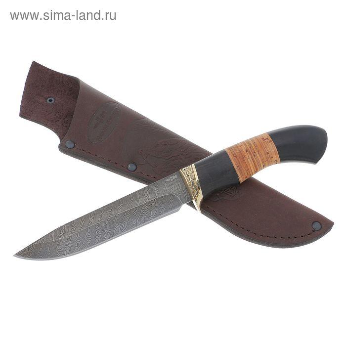 """Нож нескладной """"КЛЁН"""" (2395)б, рукоять-дерево, дамасская сталь"""